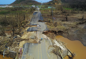 road devastated by  hurricanes in Puerto Rico