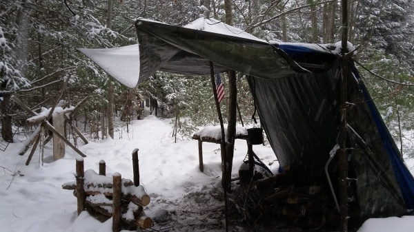tarp shelter, fire reflector